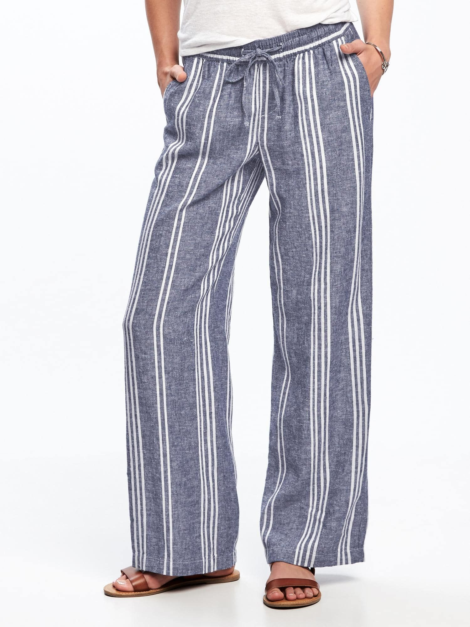 Women's Clothing Clever Hot Sale Sexy Women Pants High Waist Flare Wide Leg Lady Long Trousers Fashion Striped Pants Spare No Cost At Any Cost Bottoms