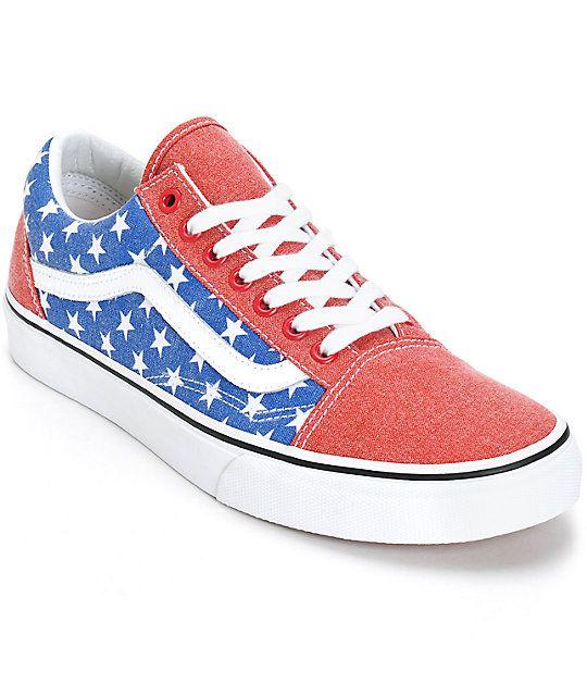 803a61604d8dd6 Vans Old Skool Van Doren Stars and Stripes Skate Shoes
