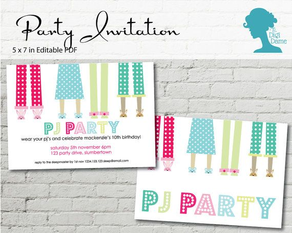 Digital Party Printable Invitation: Pajama/Pyjama/PJ/Slumber Party $10.00AUD by The Digi Dame on Etsy digidame.etsy.com