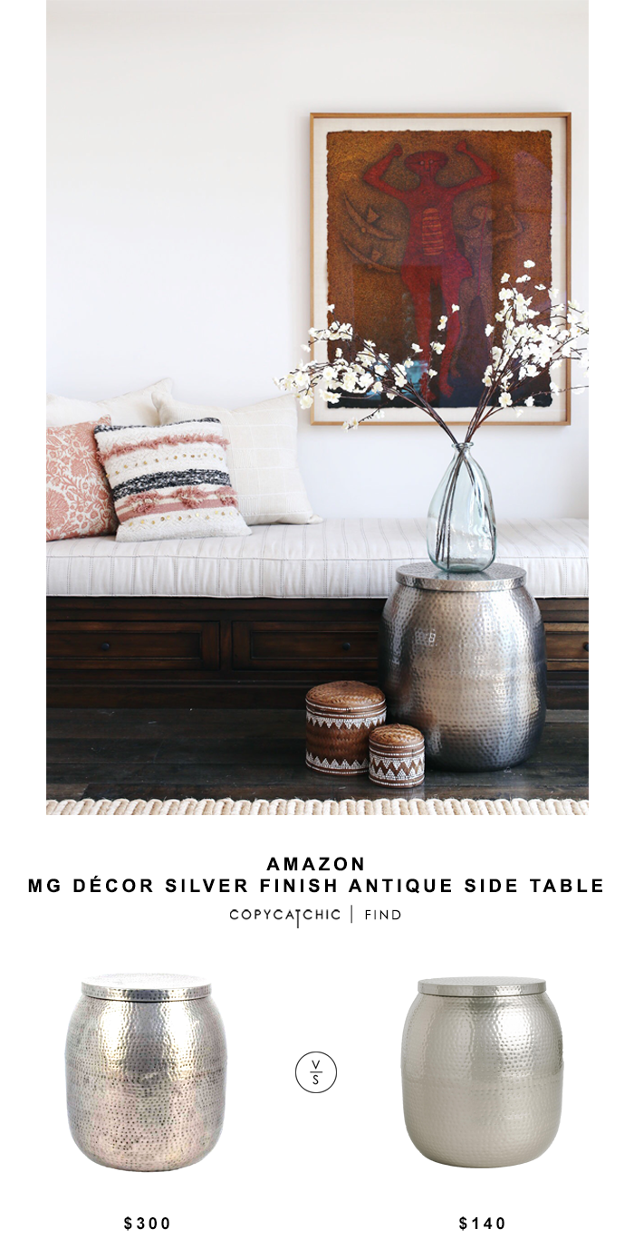 Mg Décor Silver Finish Antique Side Table Home Drum