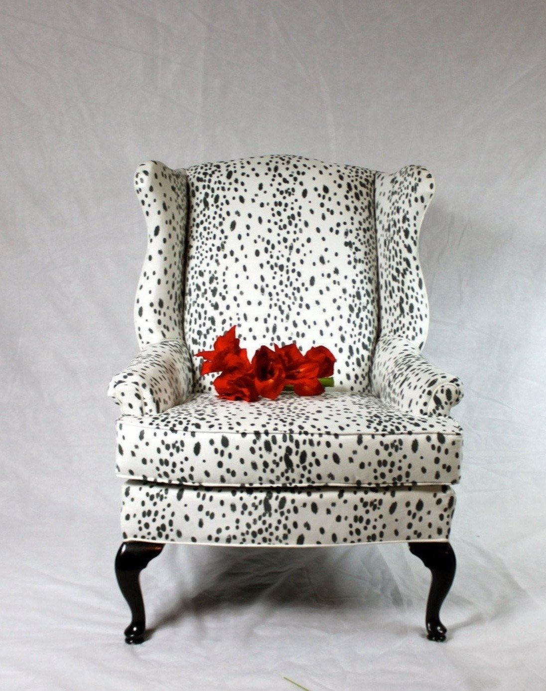 SOLD- CAN REPLICATE Dalmatian Fabric Faux Suede Wing Back Chair ...