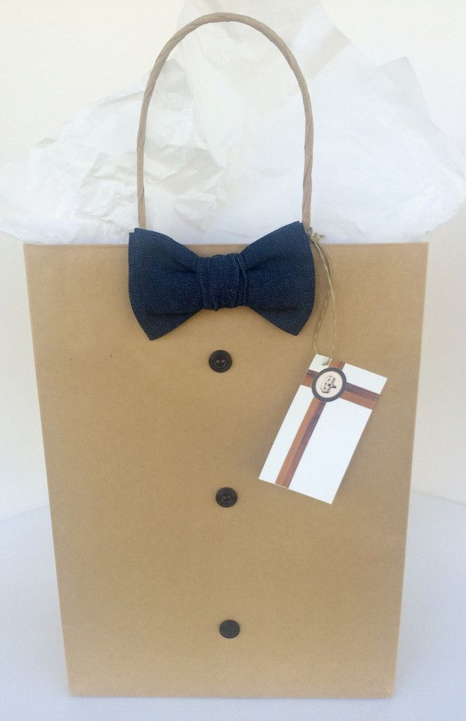 Denim Bowtie with Navy Button Embellishments Gift Bag