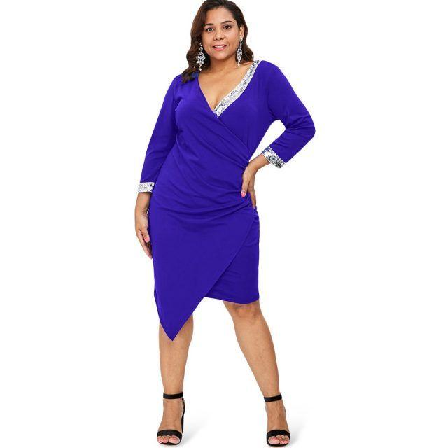 c0fc799f8a6 Asymmetrical Plus Size Sequins Bodycon Dress for Women
