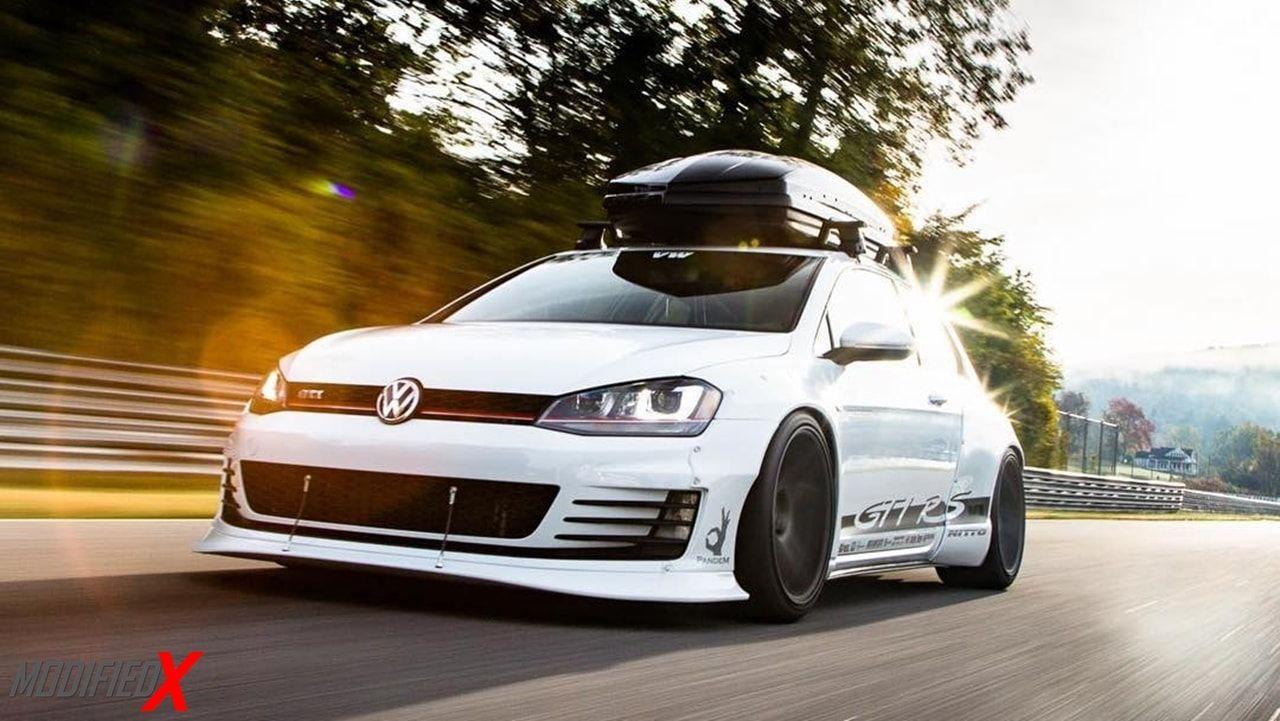 Volkswagen Gold Mk7 Gti Rs Rocket Bunny Wide Body Modified