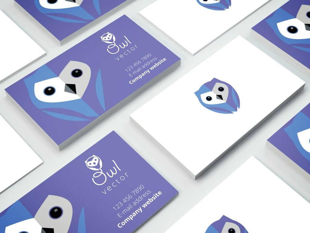 Business cards with blue owl logo branding | Creative business card ...