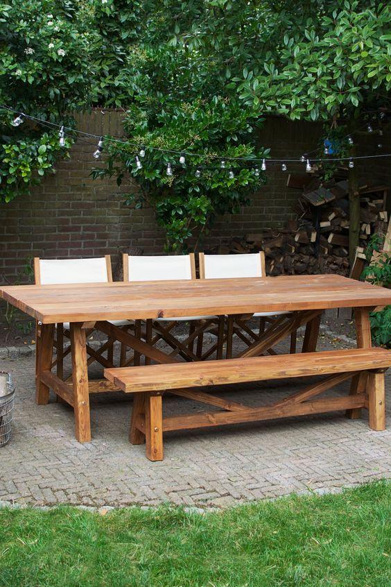 Diy Buitentafel Bankje Diy Diy Outdoor Table Diy Picnic