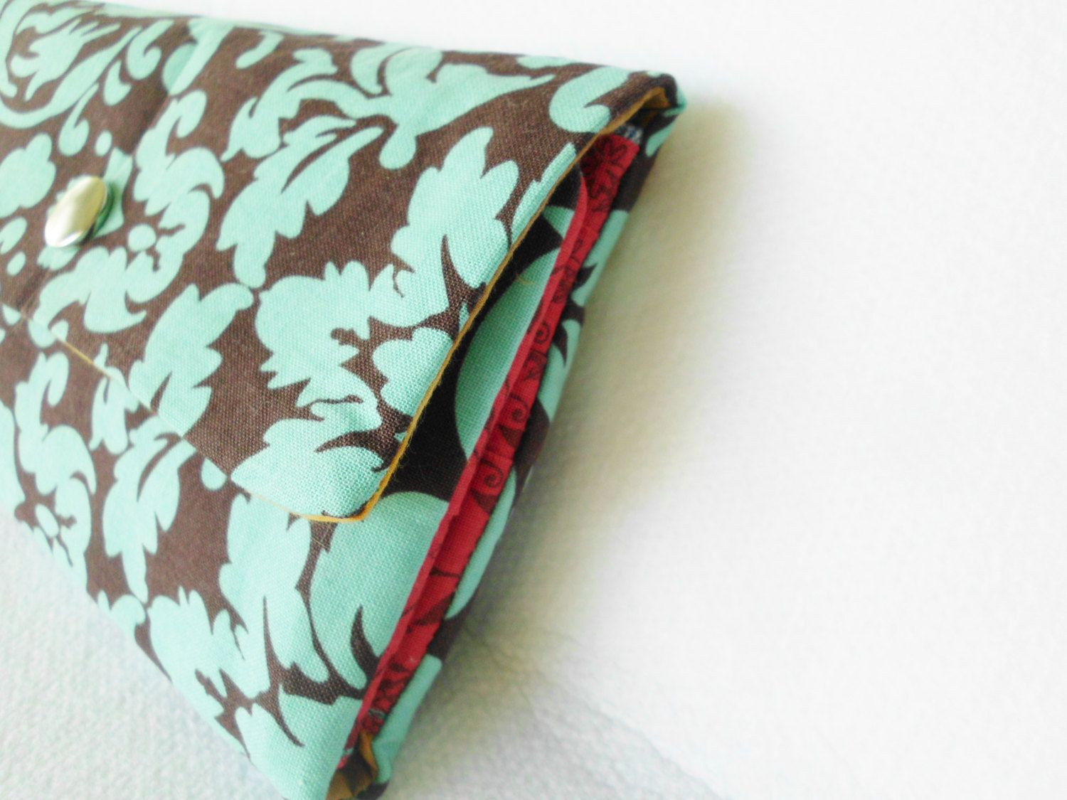 Woman wallet wristlet in teal colors woman billfold wristlet handmade wallet for women in teal turquoise and brown colors handmade wallet by stitchinghook on Etsy