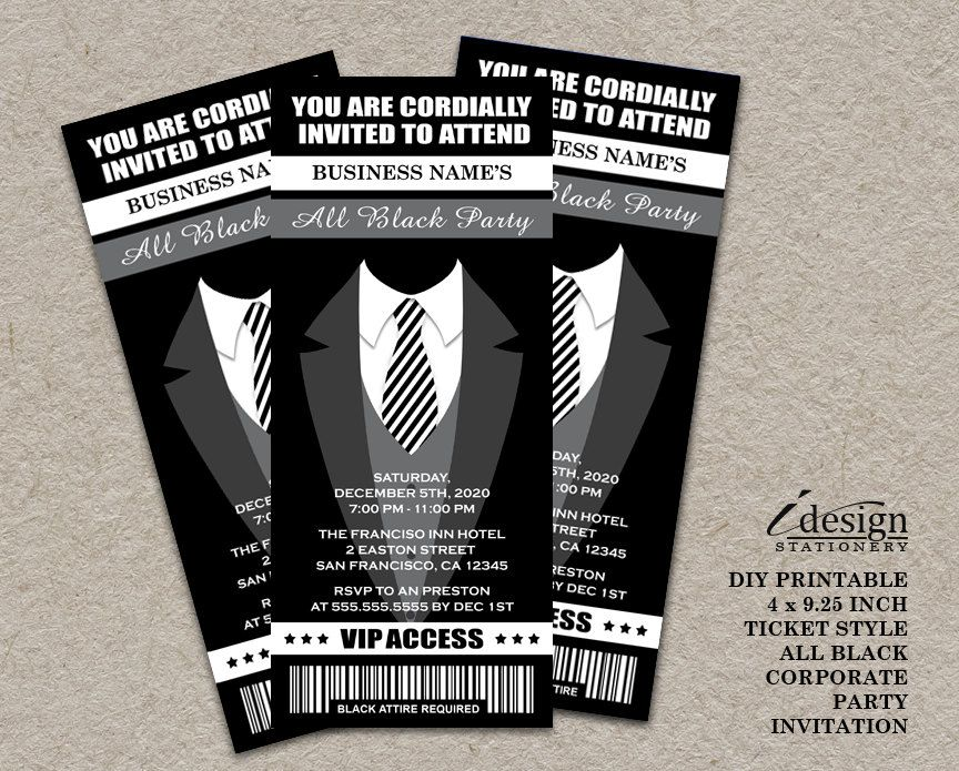 All Black Party Ticket Invitation Printable Ticket Style Black - prom tickets design