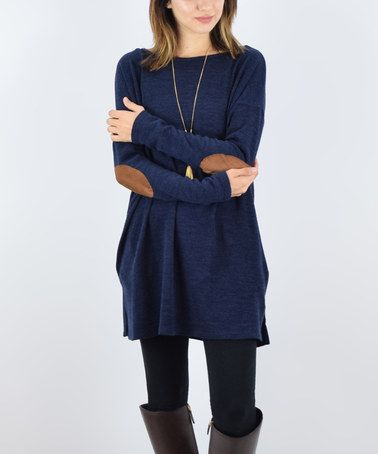 Look what I found on #zulily! Navy Elbow patch Boat Neck Tunic #zulilyfinds
