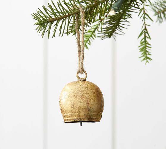 Vintage Gold Bell Ornament Pottery Barn Bell Ornaments Whimsical Christmas Decor Pottery Barn Christmas