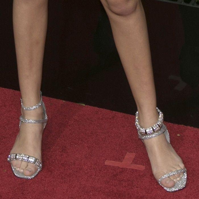 Millie Bobby Brown Showing Off Her Feet In Glittering Calvin Klein