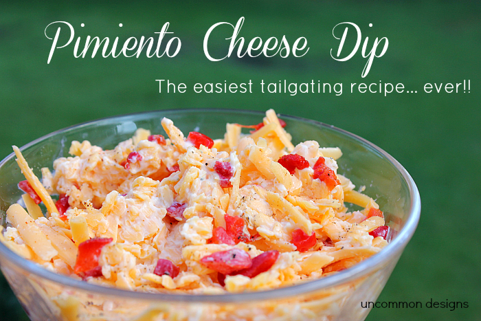 Pimiento Cheese Dip... the Easiest Tailgating Dip Recipe Ever #tailgatefood