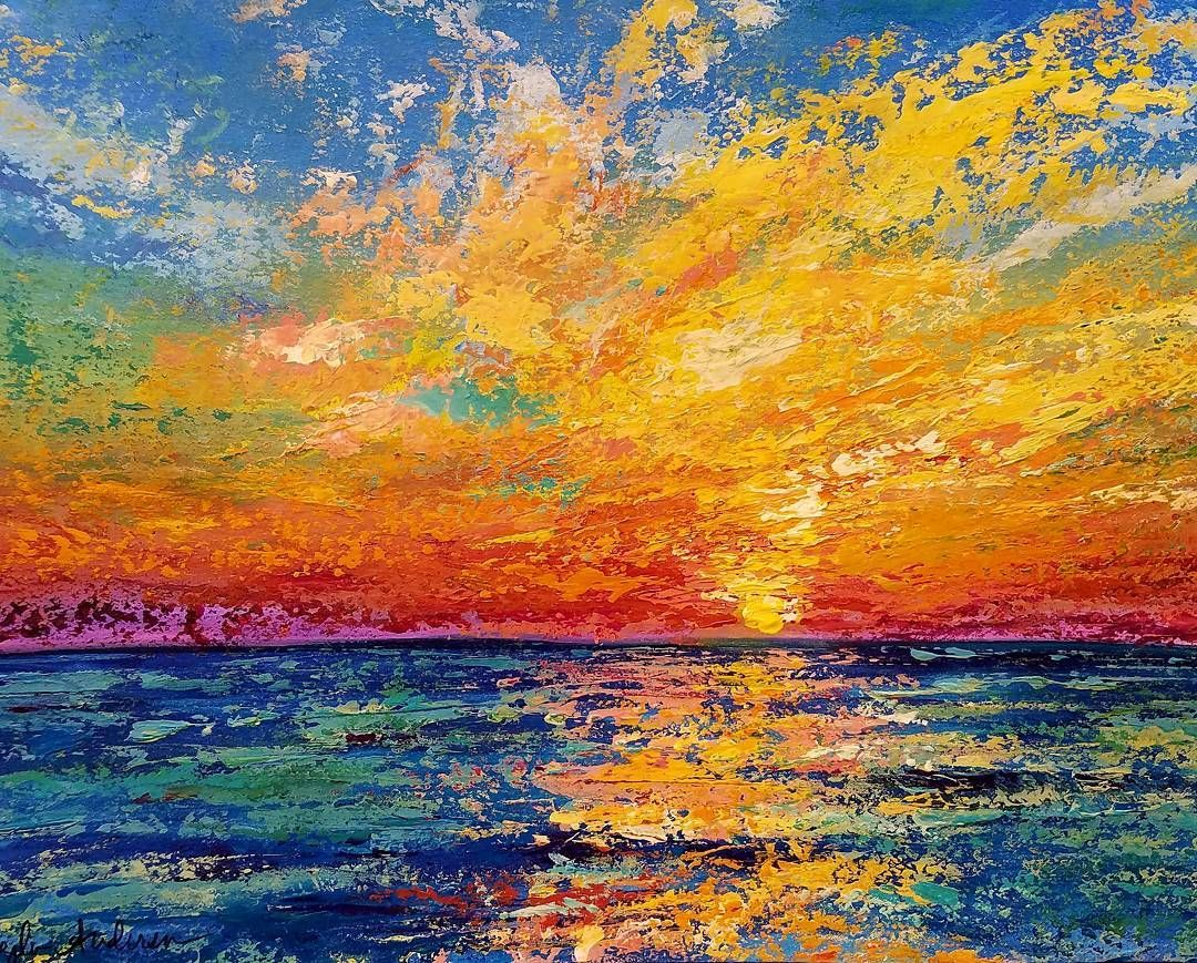 Ocean Sunset Palette Knife Tutorial Tuesday August 1st 6pm Ct On