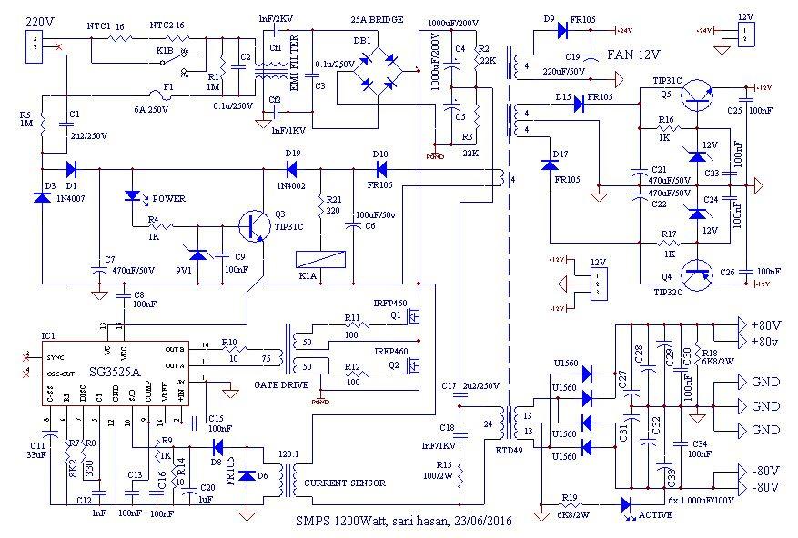 SMPS 1200 Watt for Power Amplifier | Electronic schematics