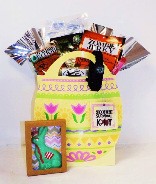 Zombie apocalypse survival easter gift basket with zombie chocolate zombie apocalypse survival easter gift basket with zombie chocolate bunny negle Choice Image