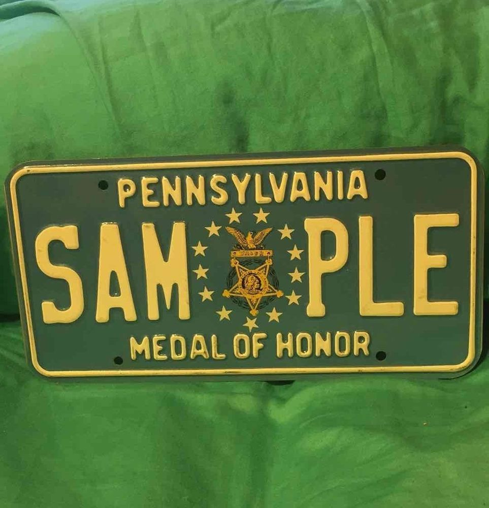 Pennsylvania Medal Of Honor SAMPLE License Plate White Letters ...