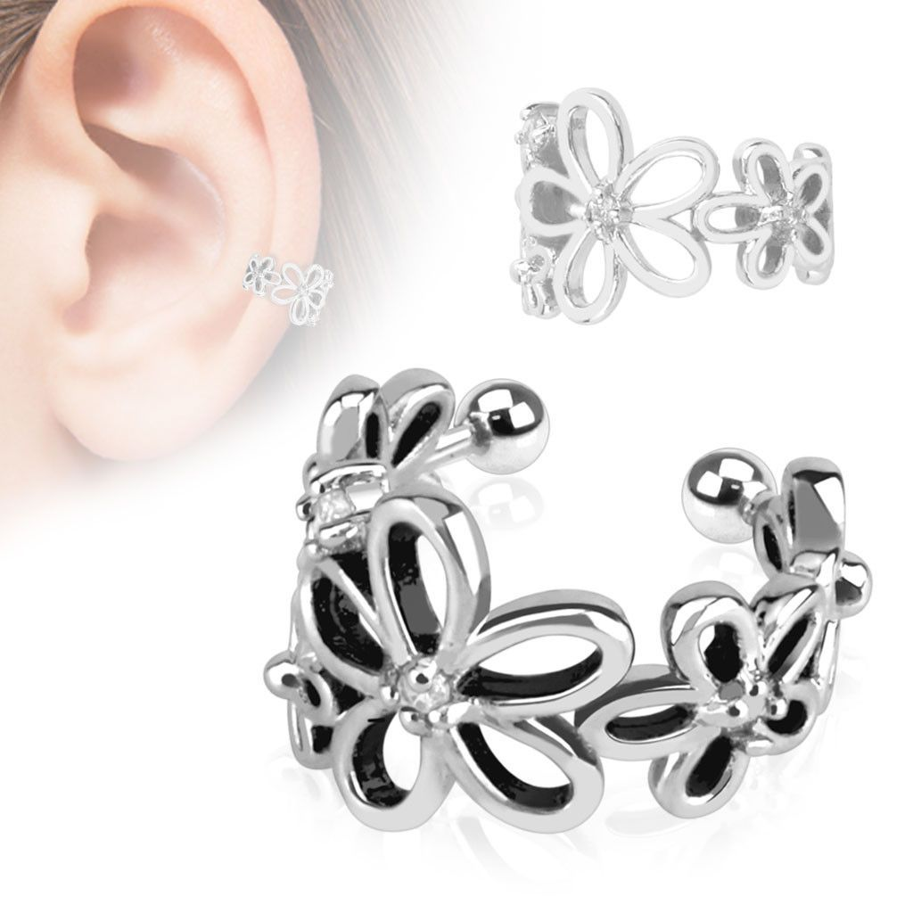 ~ Beautifully Gift boxed ~ Beaded clip on non piercing ear cuff earring with 5 Clear CZ gems Rhodium Plated Brass jaWjVnY