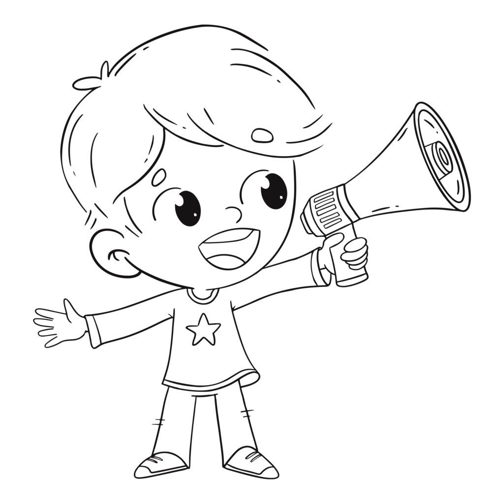 Boy Speaking With A Megaphone Coloring Page Coloring Pages Cartoon Illustration