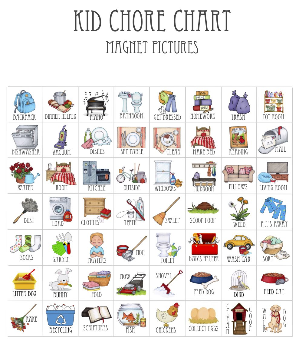 Chore Chart Picture Magnets In 2020 Chore Chart Pictures Chore Chart Kids Daily Routine Chart For Kids