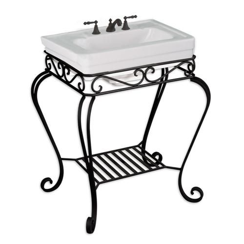 Wrought iron sink stand bathroom ideas pinterest wrought iron sinks and iron for Wrought iron bathroom furniture