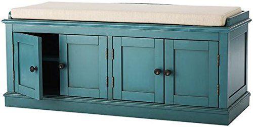 Amazon Com Laughlin Storage Bench 20 Hx47 Wx18 D Antique Blue