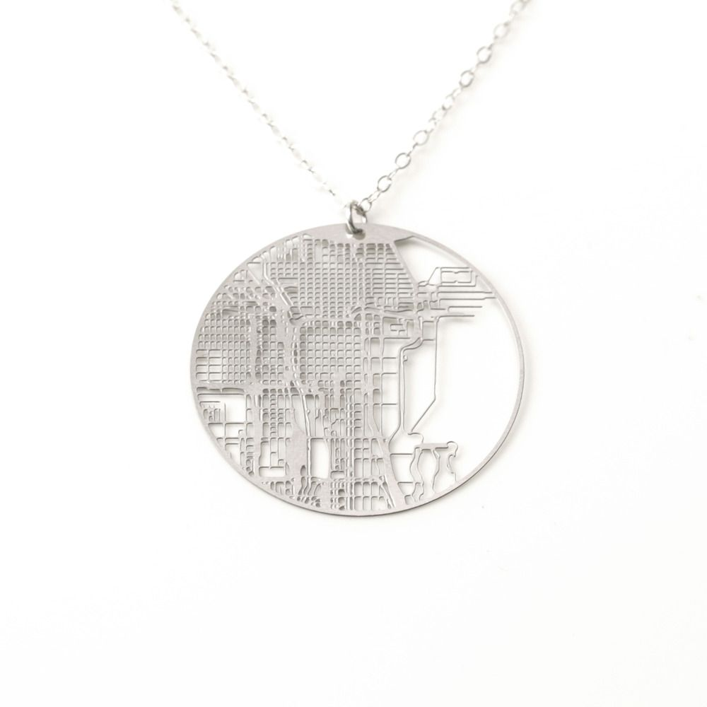 Aminimal Studio  Urban Gridded EarringsNecklace Chicago - Chicago map necklace