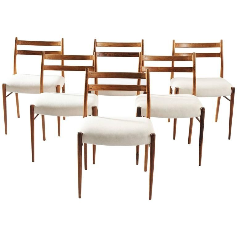 arne wahl iversen set of six dining chairs in rosewood - Set Of Six Dining Room Chairs