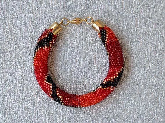 Red Black Crochet Beaded Bracelet Seed Beads Rope Bracelet