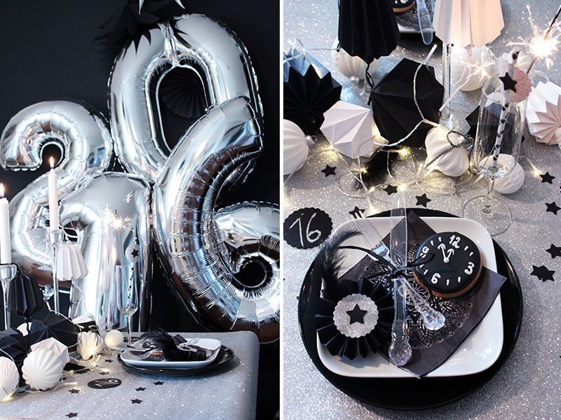 Tolle Silvesterdeko In Grau Silber Schwarz Und Weiss Silvester