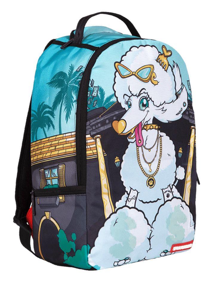 Sprayground Poodle Life Gold Cash Spoiled Dog Book Bag Backpack ...