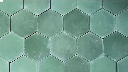 matte green hex tile light green hex
