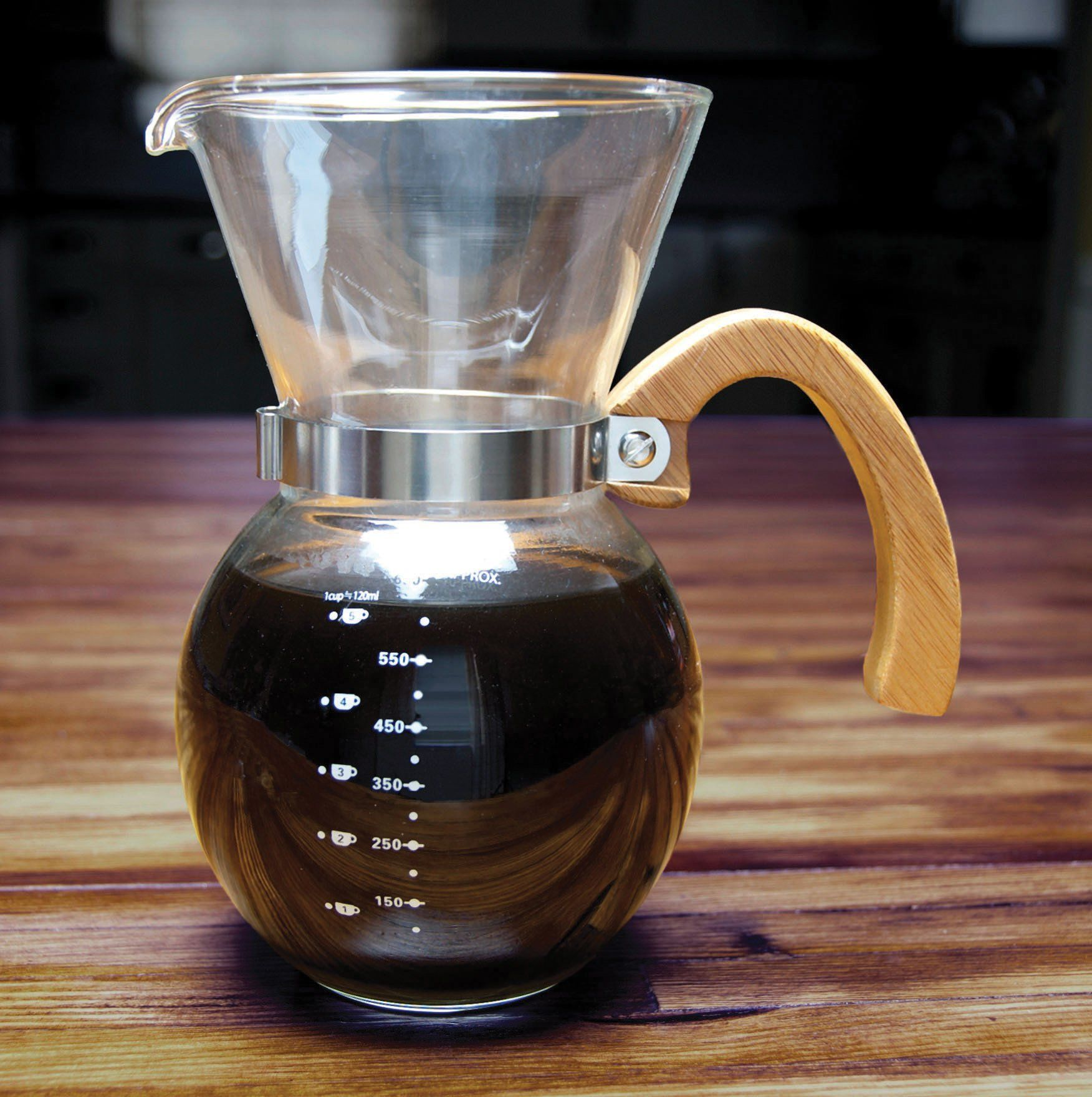 0328250b0e0 HIC Harold Import Co. 43781 PourOver Coffee Maker Borosilicate Glass with  Bamboo Handle Stainless Steel Filter 4Servings 22Ounce Capacity -- You can  find ...