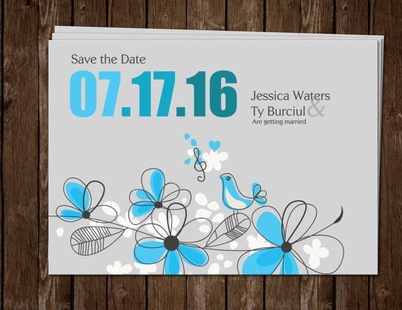 Blue and Grey flowers with love bird. DIY save the date cards. Print from home