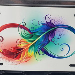 Rainbow Infinity Feather License Plate, Eternity Freedom Honor, New Car Tag Christmas Present Gift,