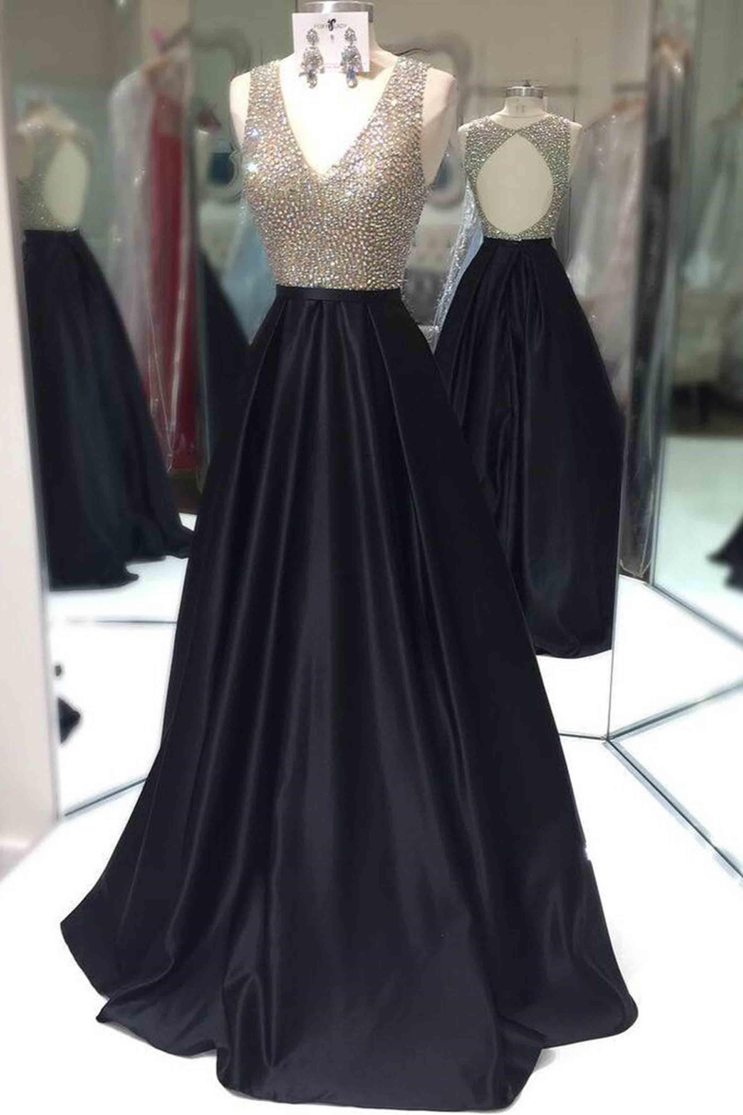 Cute sequins top black satin long prom dress prom pinterest
