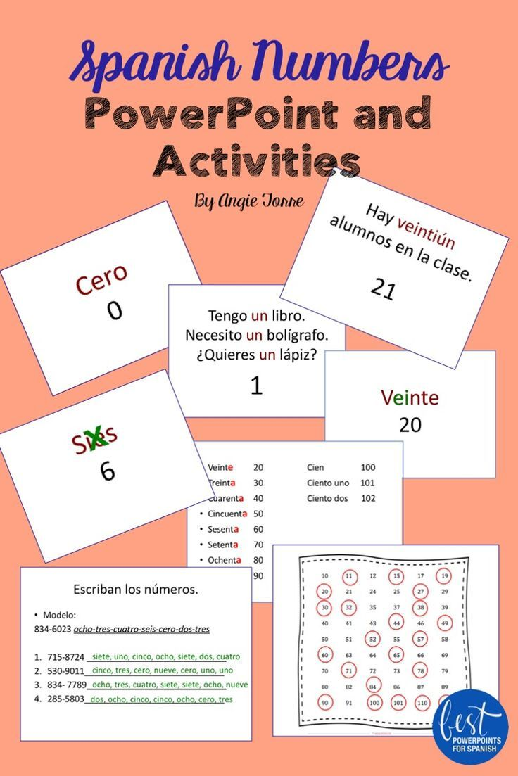 Spanish Numbers Los números PowerPoint and Activities   espanol ...