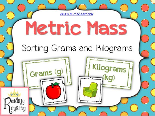 Metric Mass Sorting Grams and Kilograms Activities