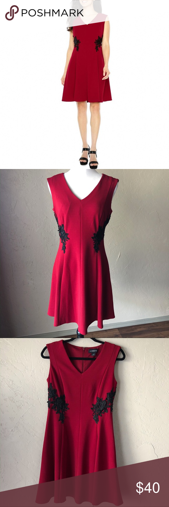 Liz Claiborne Sleeveless Red Dress Red Dress Dresses Colorful Dresses