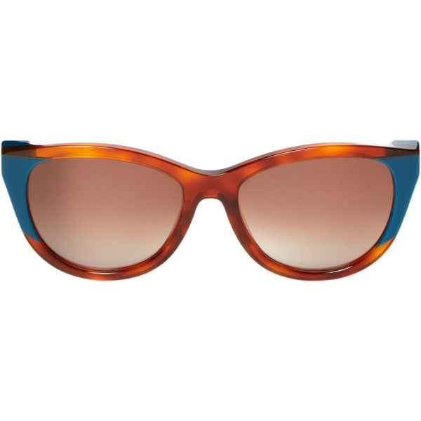 Thierry Lasry Women's Flattery Cat Eye Frame - Blue ($160) ❤ liked on Polyvore featuring accessories, eyewear, sunglasses, blue, blue cat eye sunglasses, gradient lens sunglasses, acetate sunglasses, cat eye sunglasses and thierry lasry glasses
