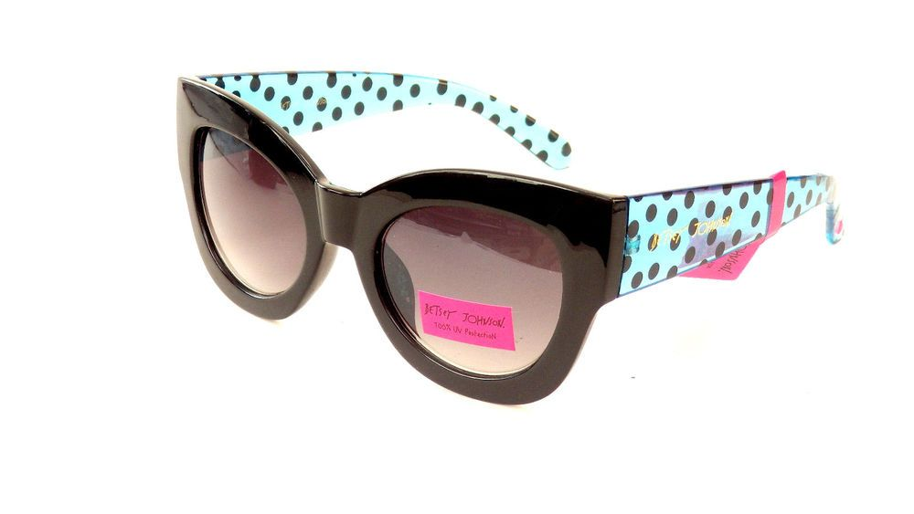 Betsey johnson blue black polka dot clear butterfly sunglasses ...