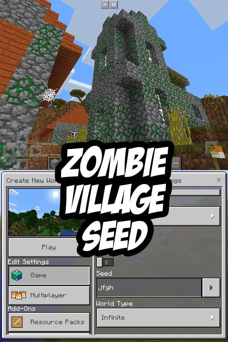 Zombie Village Seed For Mcpe Jkgh Livingroomsets Minecraft Pe Minecraft Pe Seeds Zombie Village