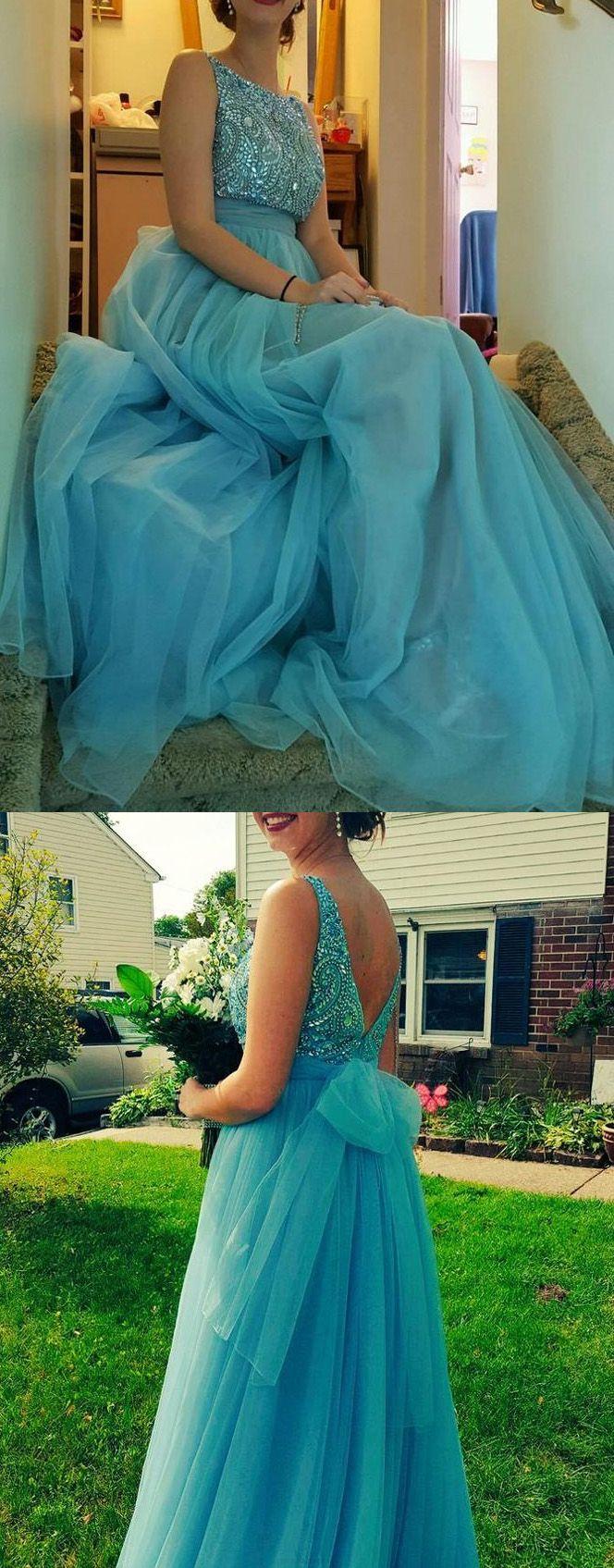 Bateau evening dresses light blue long evening dresses chic prom