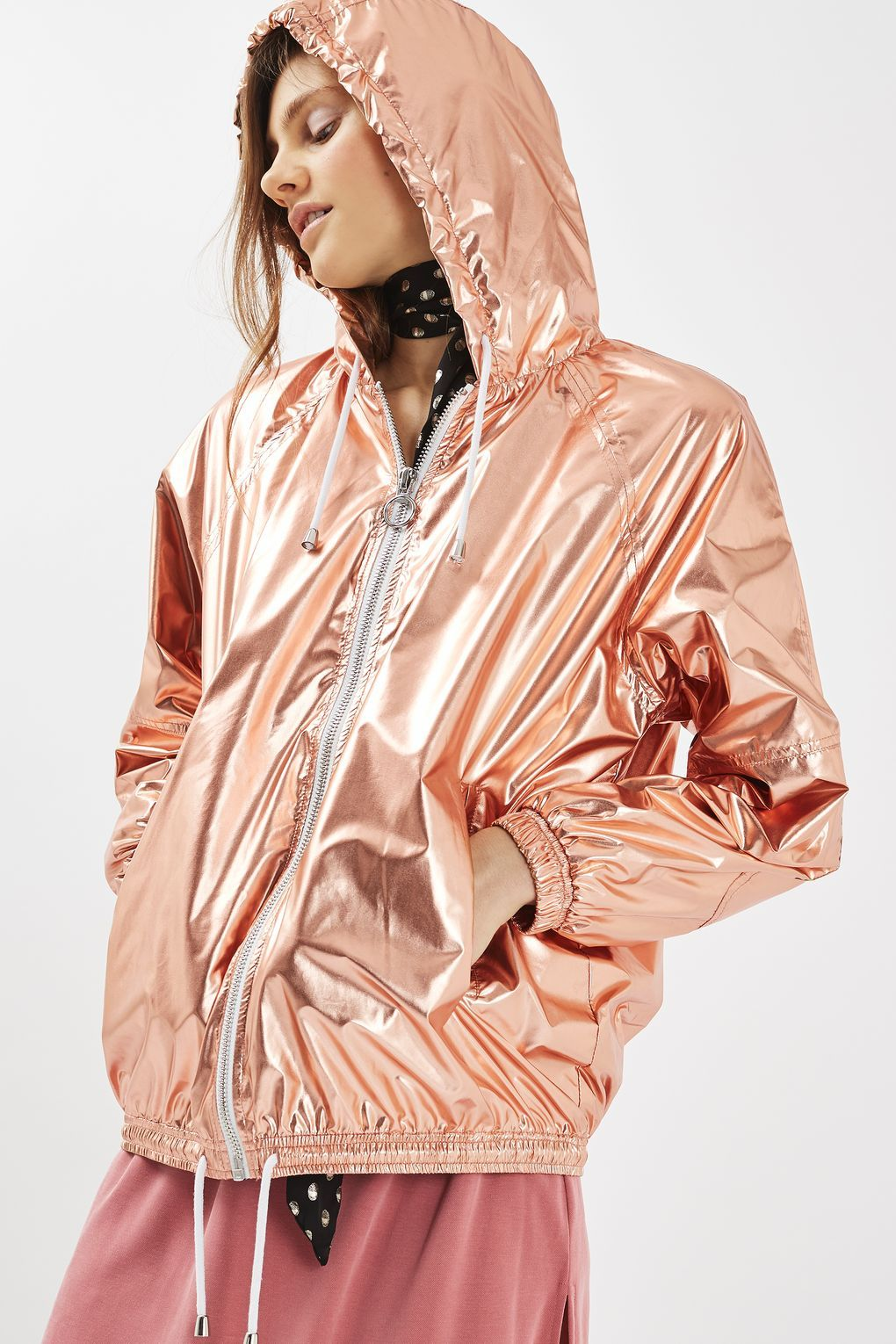 07dd6d8a6083 The Top Shop Rose Gold Windbreaker Bomber Jacket Outfit