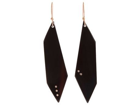 Monique Péan Geometric Buffalo Horn Earrings    Tusk, bone, and ethically mined diamonds have been the socialite-designer's trademark since launching a few short years ago. Check this angular pair crafted from naturally shed buffalo horn.    Available at barneys.com, $905.
