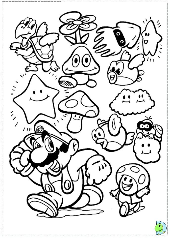 Games Super Mario Bros Coloring Pages Printable Kids Colouring