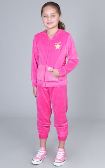 987079be17 Scribble Culture girls pink velour tracksuit for the little girl ...
