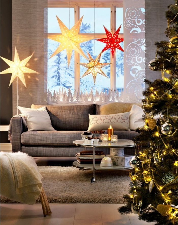wunderbar Pinterest Weihnachtsdeko Fenster Part - 20: weihnachtsdeko fenster große weihnachtssterne stilvoller weihnachtsbaum