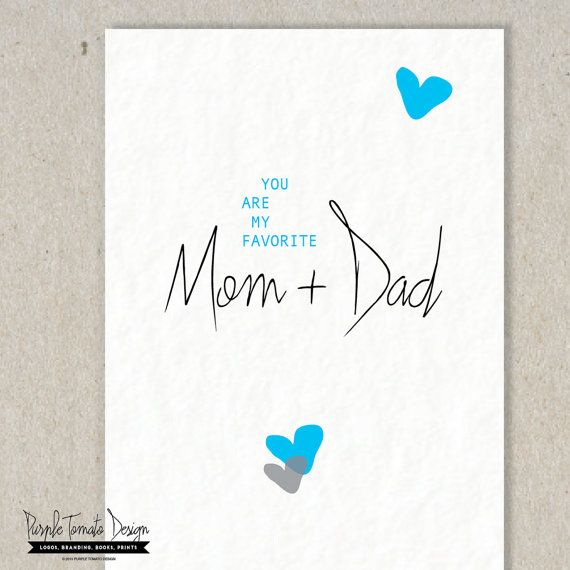 Printable Favorite Mom and Dad Card with by PurpleTomatoDesign - anniversary printable cards
