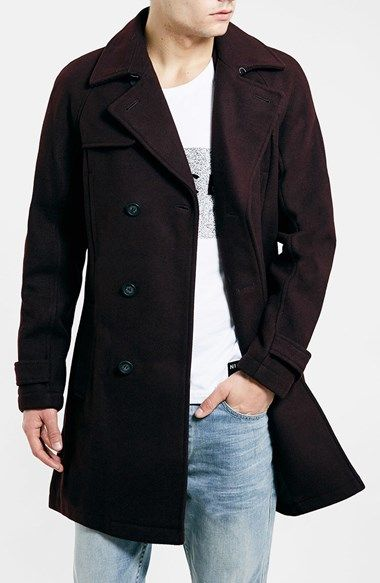 4e76cc20e30 Topman Wool Blend Double Breasted Trench Coat available at  Nordstrom