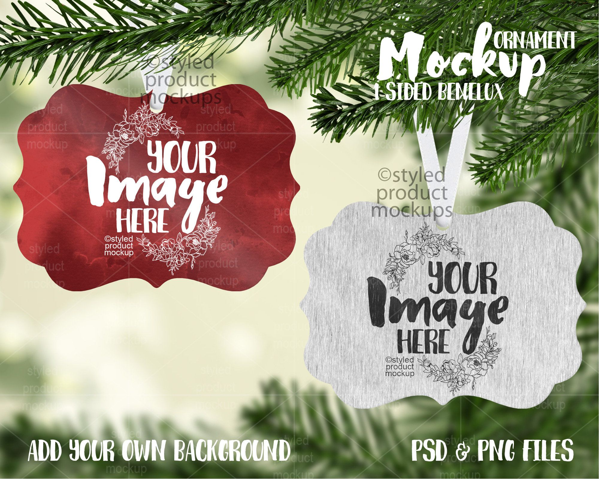 Dye Sublimation Benelux Shaped Ornament With One Side Metal Mockup Add Your Own Image And Backgrou Christmas Tree Background Dye Sublimation Ornaments Design